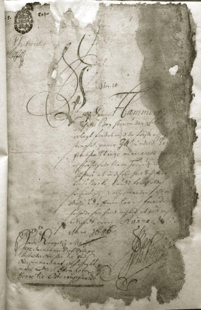 Første side af Hammerhus Birketingbog 1685