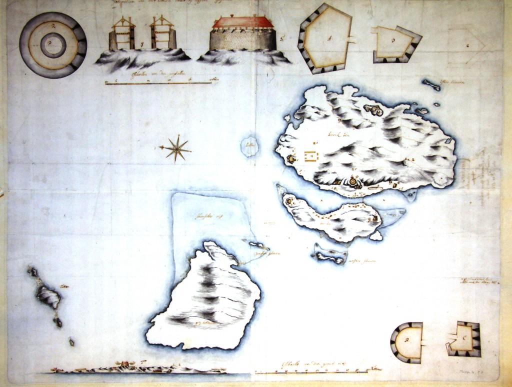 """Christiansø 1700 i Krigsministeriets kort og tegningsarkiv mappe 4, kort 23.Påsktift på bagsiden: """"No 4 Christians=Øe med Situation af Feld-Marschal Grev Jarlsbergs, indsendt fra hans Sterboe, den 9. Dec: 1726""""."""