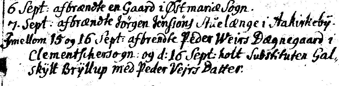 1703 Aaker kirkebog Degnegården brændte i Klemensker