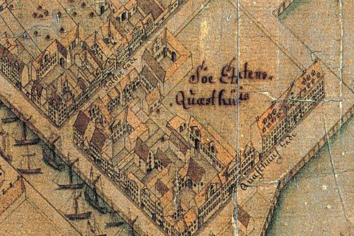Udsnit af Geddes eleverede kort, 1761. Søetatens kvæsthus var endnu ikke flyttet til Christianshavn.