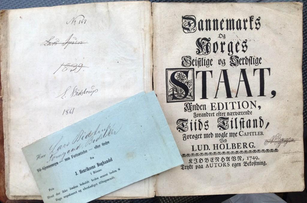 Lars Bidstrup private eksemplar af Holbergs Geistlige og Verdslige STAAT, 1749.