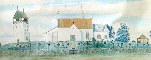Klemens Kirke 1860 - rekonstruktion udført af arkitekt Thorsen. Billedet hænger i Klemensker Kirkes våbenhus.