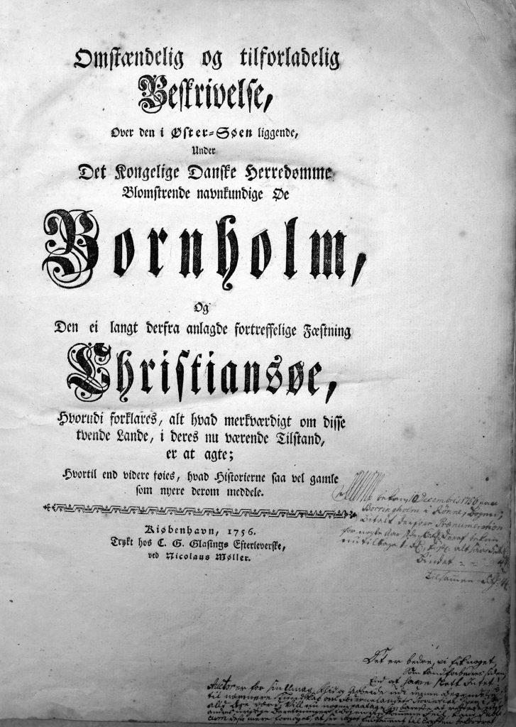 deThuras Bornholmsbeskrivelse titelblad