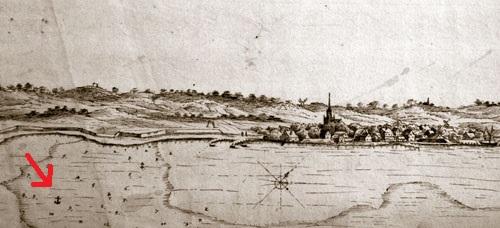 Nexø i slutningen af 1600-tallet. Fra Krigsministeriets Kort og tegninger, mappe 4, nr. 18