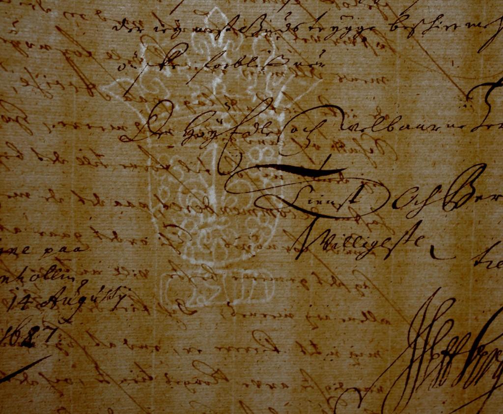 Vandmærke i amtstuens papir 1687 i Generalkommissariatets arkiv