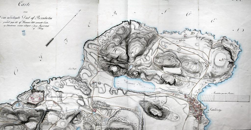 Kraghs kort fra 1796 efter Hammers kort fra 1750. Dronningens Håndbibliotek.