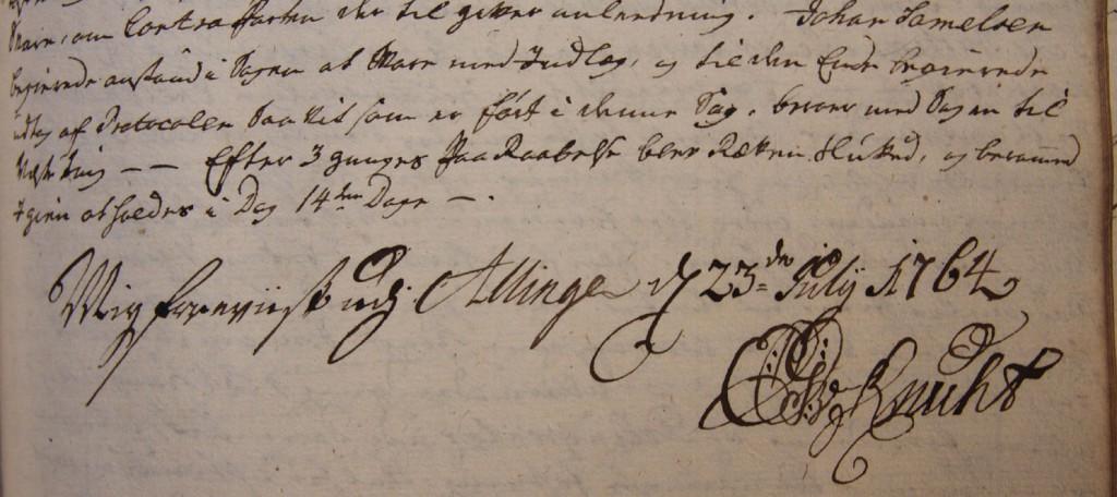 """Stiftsmand Knuth var i Allinge den 23. juli 1764 og fik forevist birketingbogen. Det gav anledning til 3 påtaler: Der manglede en kopibog over kgl. reskripter og øvrighedens skrivelser og pålæg, Der var ikke planer for oprettelse af skole og det sidste reskript om forvaltning blev ikke fulgt. Stiftamtmanden fik indskrevet en """"alvorlig erindring"""" herom."""