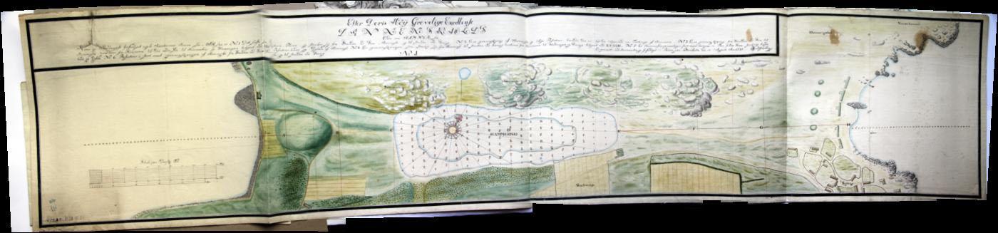 Planche 1 er ca. 160 cm langt kort med angivelse af snit fra vest til øst, hvor den tiltænkte kanal skulle graves. [tilladelse til gengivelse 21/12 2009/ Christian Gottlieb]