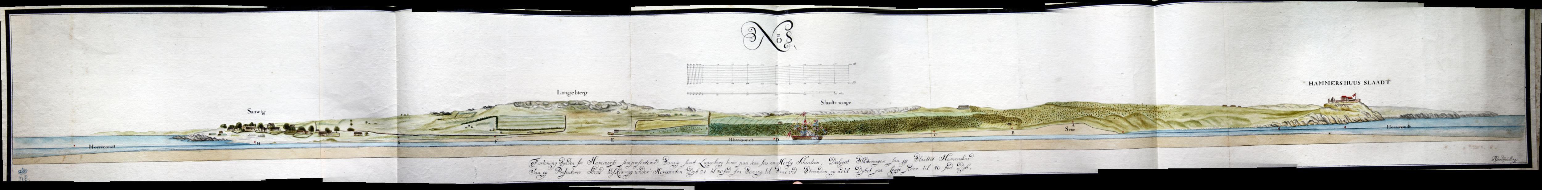 Planche No. 8 er en ca. 180 cm langt snit fra øst til vest med landskabet syd for den påtænkte kanal.