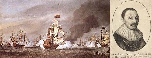 General-admiral Cornelis Martenz Tromp og hans skib der sandsynligvis lå ud for Nexø i 1676.