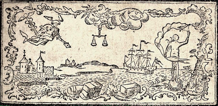 Vignet i Dannaemarks Handels=Speil. 1766
